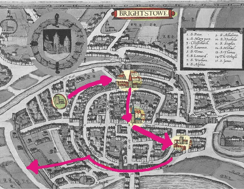An ancient map of Bristol (Brightstowe) showing the route of the walk